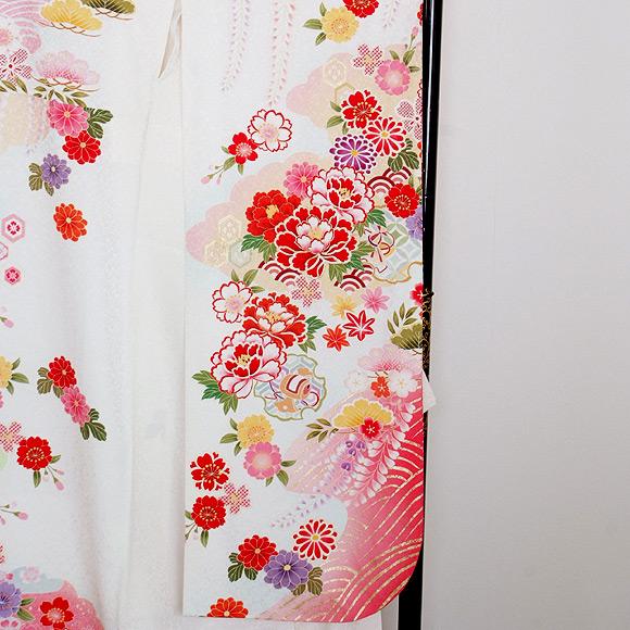 格安!振袖レンタル 成人式  白地 赤花 【送料無料】【試着可能】51190