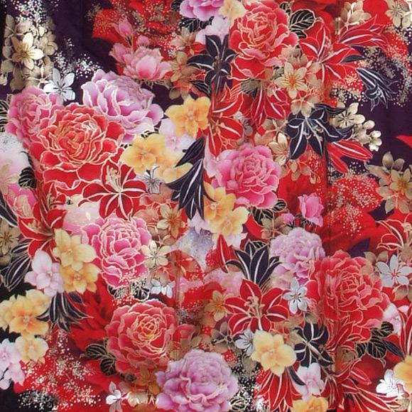 格安!振袖レンタル (2〜11月) 卒業式 結婚式 など  濃紫 赤のバラ 【送料無料】【試着可能】51193
