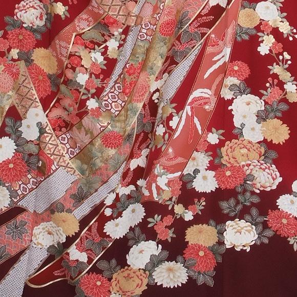 格安!振袖レンタル(2〜11月) 卒業式 結婚式 赤 エンジ 熨斗に古典柄【送料無料】【試着可能】51001