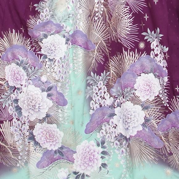 格安!振袖レンタル 成人式  ブルーの地色に紫の花 【送料無料】【試着可能】51180