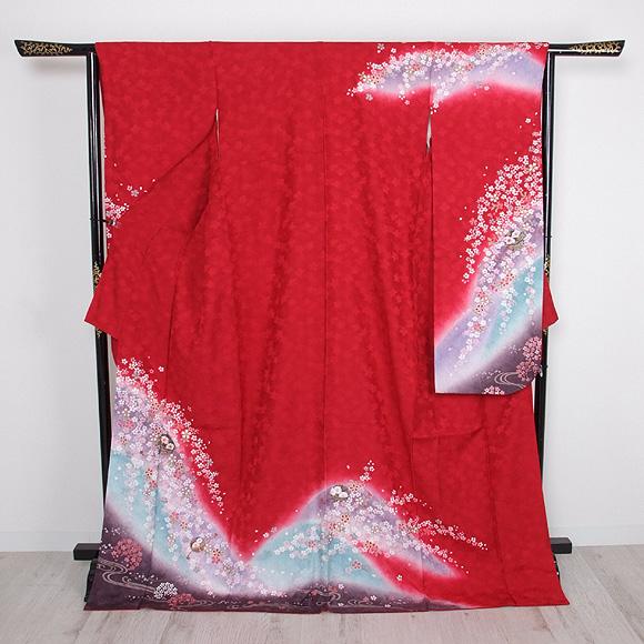 格安!振袖レンタル 成人式 赤色 桜【送料無料】【試着可能】51096