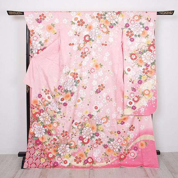 格安!振袖レンタル 成人式  ピンクの花柄 【送料無料】【試着可能】51181