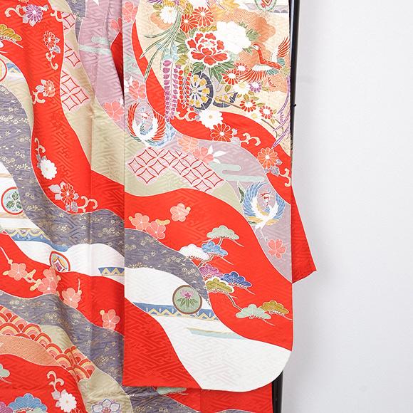 格安!振袖レンタル(2〜11月) 卒業式 結婚式 赤 朱 古典模様 【送料無料】【試着可能】 51010