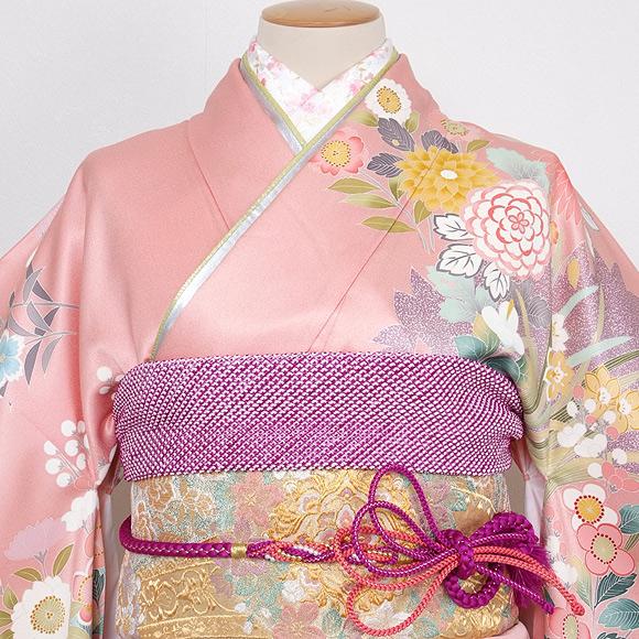 格安!振袖レンタル 成人式 ピンク 紫色 花柄【送料無料】【試着可能】53510