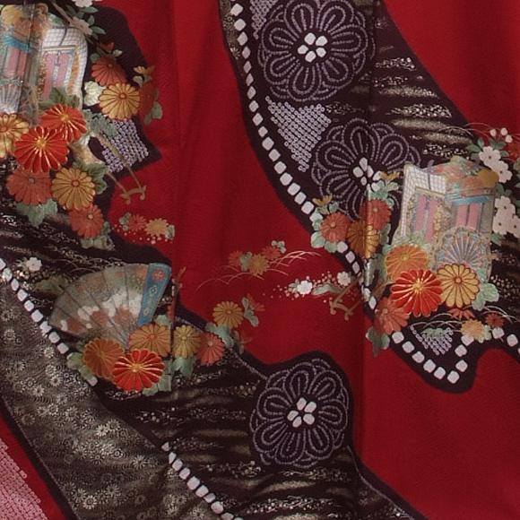 格安!振袖レンタル(2〜11月) 卒業式 結婚式 赤地絞り風御所車 【送料無料】【試着可能】 51073