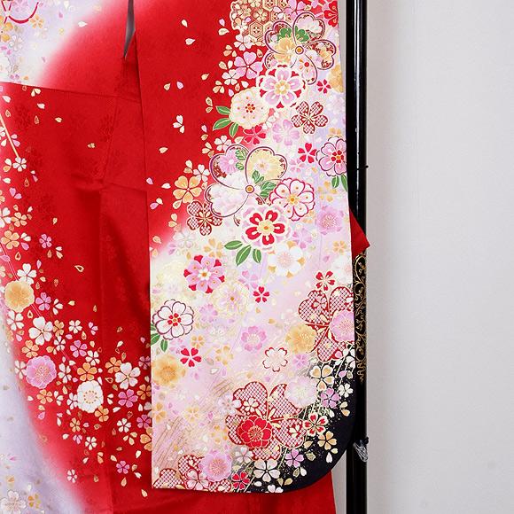 格安!振袖レンタル (2〜11月) 卒業式 結婚式 など  赤淡ピンク桜模様 S 【送料無料】【試着可能】51201