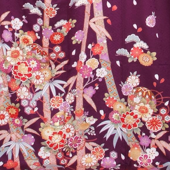 格安!振袖レンタル 成人式  花紫に朱の鹿の子 【送料無料】【試着可能】51170