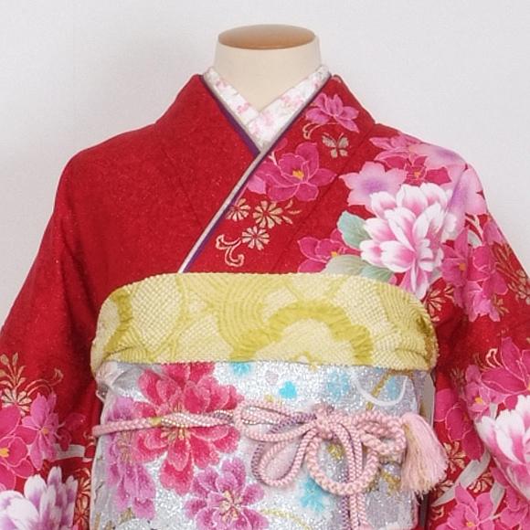 格安!振袖レンタル 成人式  赤地ピンクの牡丹 L 【送料無料】【試着可能】51171