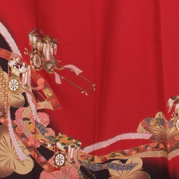 格安!振袖レンタル (2〜11月) 卒業式 結婚式 など  赤に御所車 【送料無料】【試着可能】51066