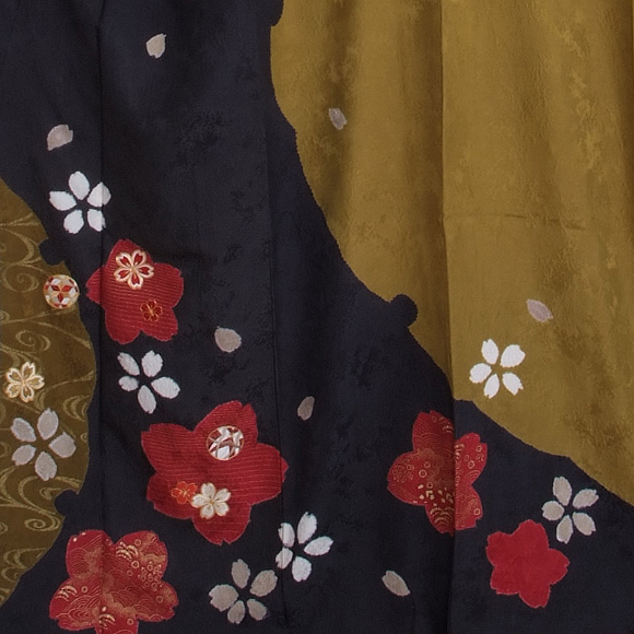 格安!振袖レンタル(2〜11月) 卒業式 結婚式 利休 チャコールグレー桜  【送料無料】【試着可能】 51091