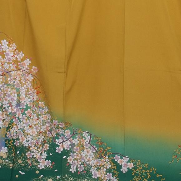 格安!振袖レンタル(2〜11月) 卒業式 結婚式 カラシ 裾緑にしだれ桜 【送料無料】【試着可能】 510h1