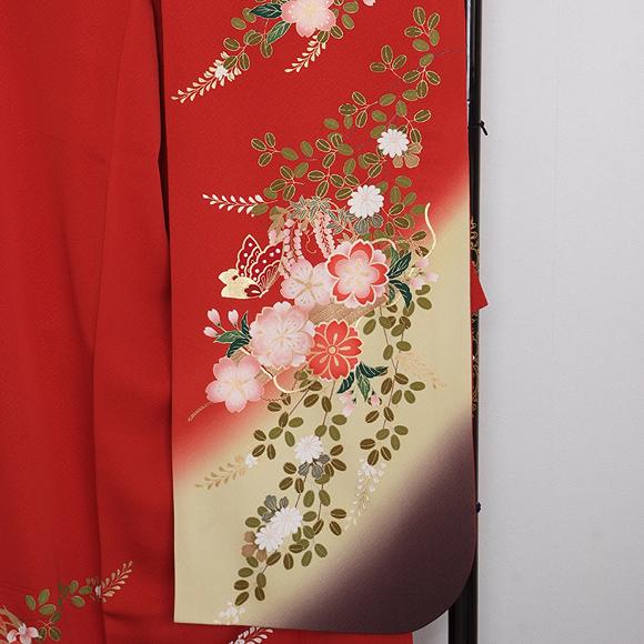格安!振袖レンタル (2〜11月) 卒業式 結婚式 など  赤地花と蝶  【送料無料】【試着可能】 51080