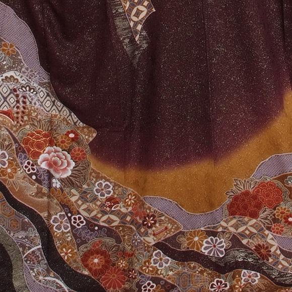 格安!振袖レンタル(2〜11月) 卒業式 結婚式 など  濃茶金通に牡丹 【送料無料】【試着可能】51094