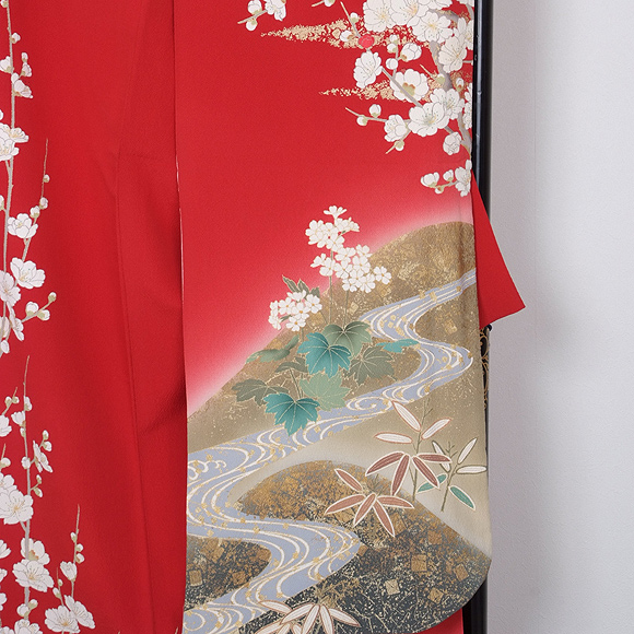 格安!振袖レンタル(2〜11月) 卒業式 結婚式 赤 枝梅 【送料無料】【試着可能】 510h7