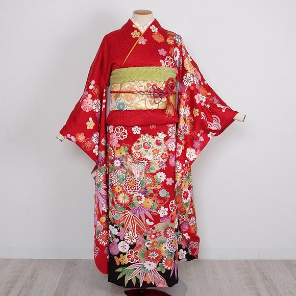 格安!振袖レンタル 成人式  赤  黒裾花 【送料無料】【試着可能】51189