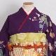 格安!振袖レンタル(2〜11月) 卒業式 結婚式 紫金 白の花 【送料無料】【試着可能】510h6