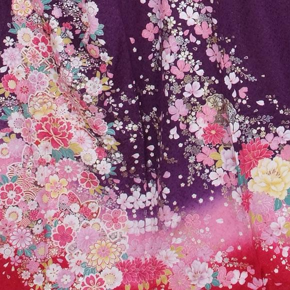 格安!振袖レンタル 成人式  紫ピンクぼかし LL 【送料無料】【試着可能】51192