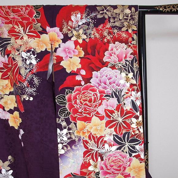 格安!振袖レンタル 成人式  濃紫 赤のバラ 【送料無料】【試着可能】51193