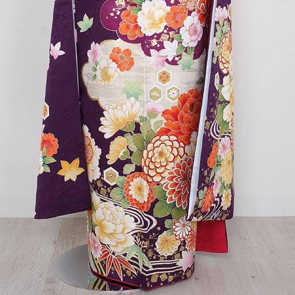 格安!振袖レンタル 成人式  濃紫 花ずくし 【送料無料】【試着可能】51194