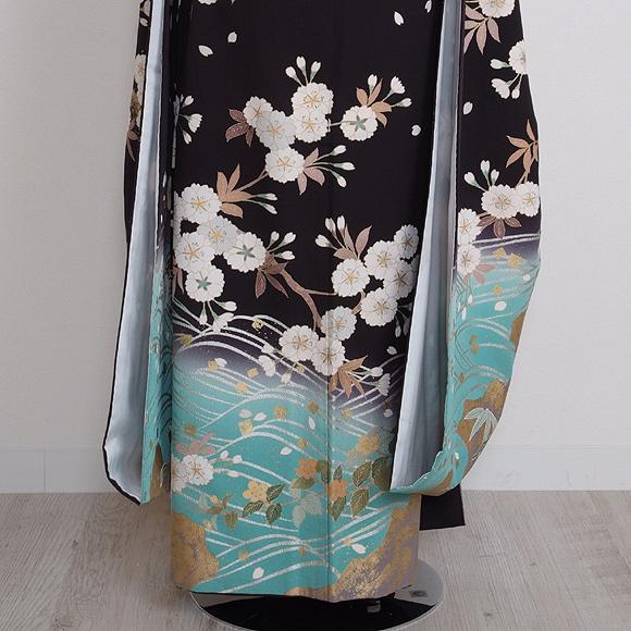 格安!振袖レンタル 成人式 黒 白の山桜 【送料無料】【試着可能】 510h2