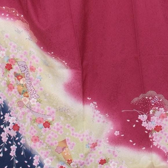 格安!振袖レンタル(2〜11月) 卒業式 結婚式 ローズに黄と紺のぼかし 【送料無料】【試着可能】51106