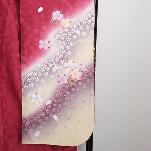 格安!振袖レンタル(2〜11月) 卒業式 結婚式 ローズピンク黄色ぼかし桜【送料無料】【試着可能】51108