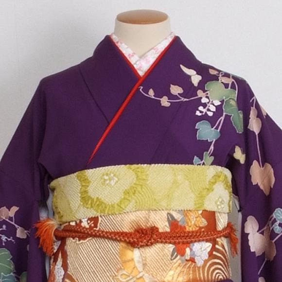 格安!振袖レンタル 成人式 紫金 白の花 【送料無料】【試着可能】510h6