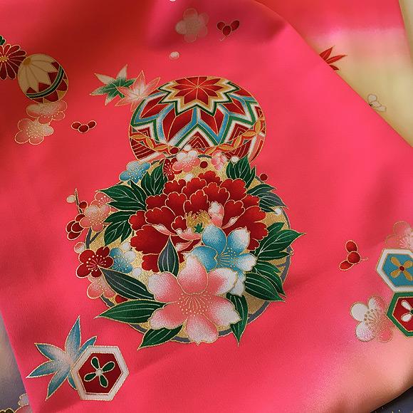 格安!着物・お宮参り レンタル フルセット 初着 女児 G ピンク/紫 【送料往復880円】200007