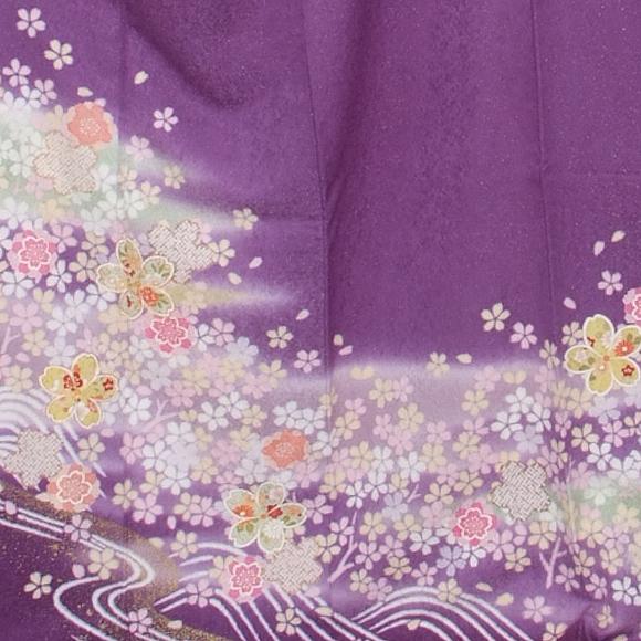 格安!振袖レンタル 成人式 紫に淡いピンクの花 【送料無料】【試着可能】51104
