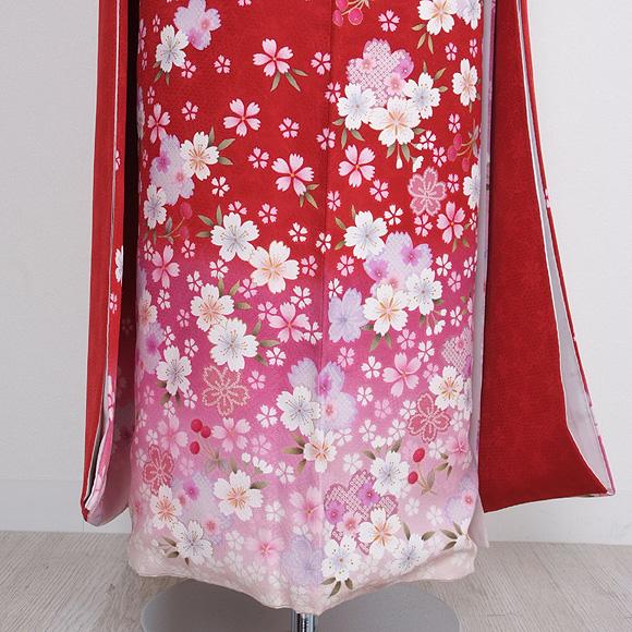 格安!振袖レンタル 成人式 赤地ピンクに花とさくらんぼ 【送料無料】【試着可能】51110