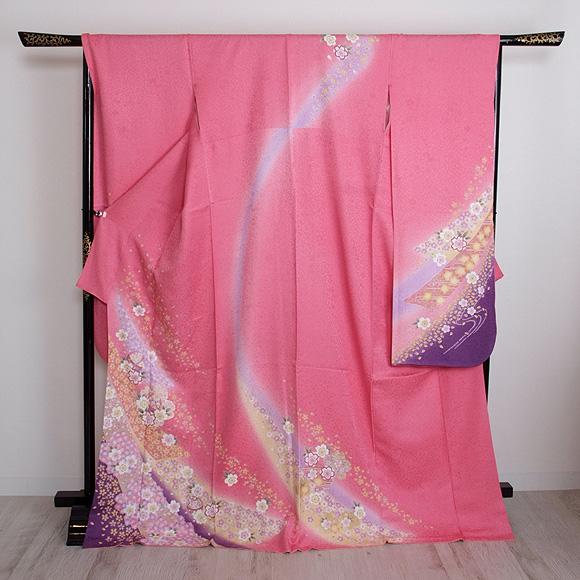 格安!振袖レンタル 成人式 ピンク紫 花とまり 【送料無料】【試着可能】51111