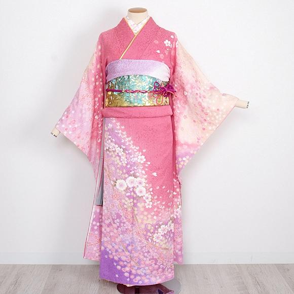 格安!振袖レンタル 成人式 ピンク紫 ぼかし 花と蝶 【送料無料】【試着可能】51112