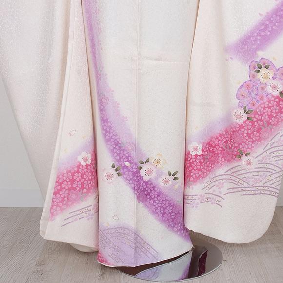 格安!振袖レンタル 成人式 白地 紫 花とまり 【送料無料】【試着可能】51113