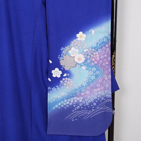 格安!振袖レンタル (2〜11月) 卒業式 結婚式 など  紺地ピンクの桜 LL 【送料無料】【試着可能】51139