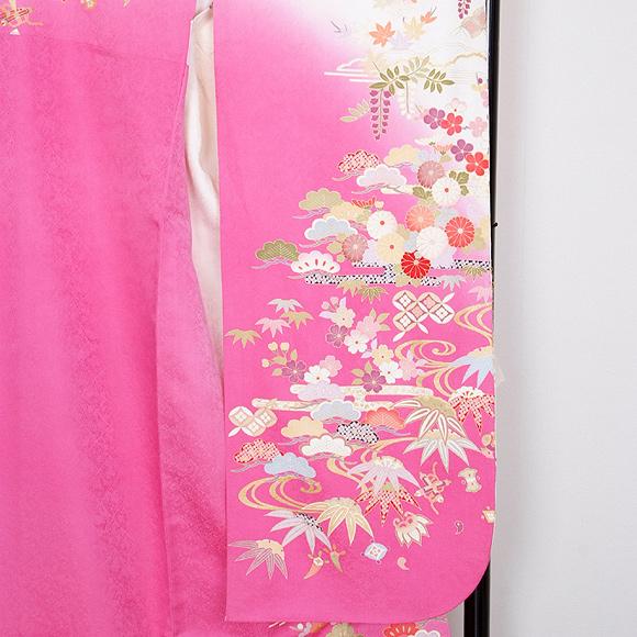 格安!振袖レンタル 成人式 白地ピンクの小模様 【送料無料】【試着可能】51140