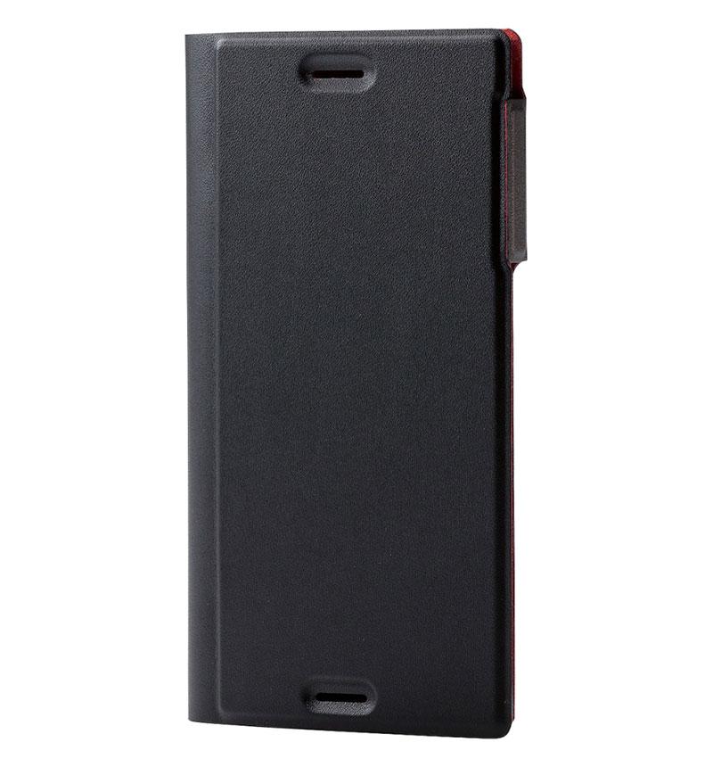 Xperia XZs用ソフトレザーカバー/薄型/磁石付 ブラック PM-XXZSPLFUMBK