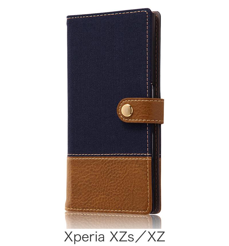 Xperia  XZ用 手帳型ケース ファブリック 帆布 ネイビー (Xperia XZs対応) RT-RXPXZFBC2/N