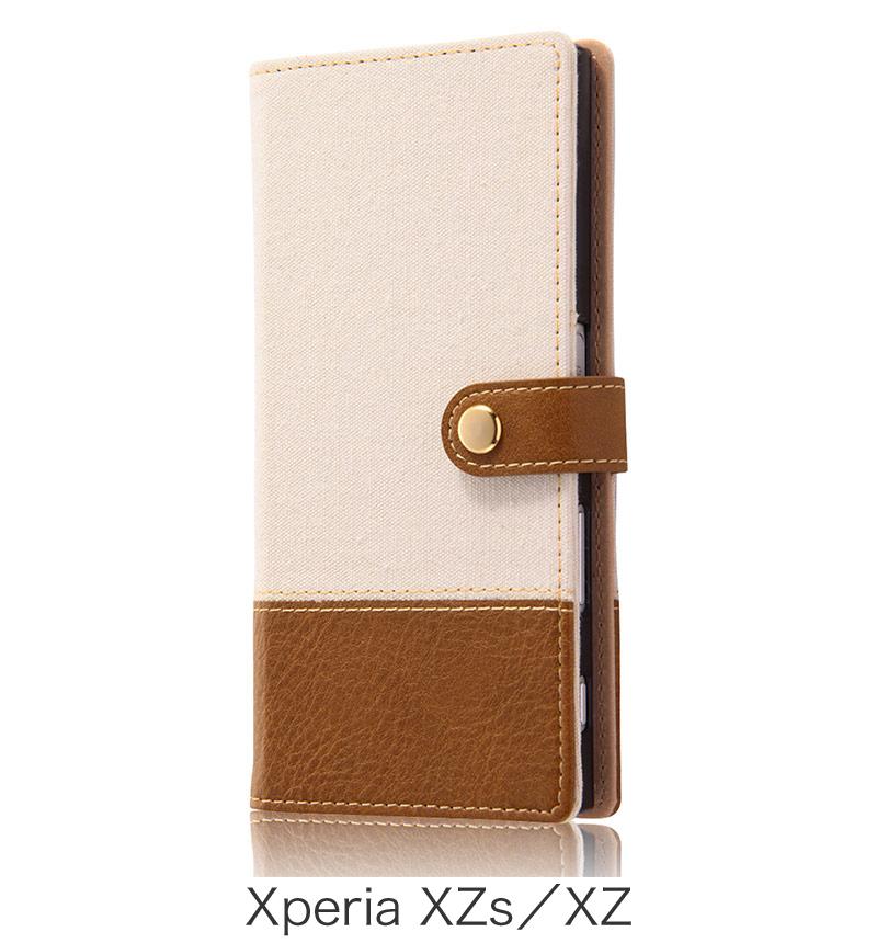 Xperia  XZ用 手帳型ケース ファブリック 帆布 オフホワイト (Xperia XZs対応) RT-RXPXZFBC2/W