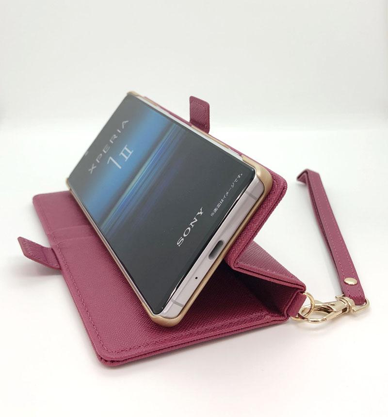 Xperia 1 II 手帳型ケース+ハンドストラップ マゼンタ 5467XP12BO