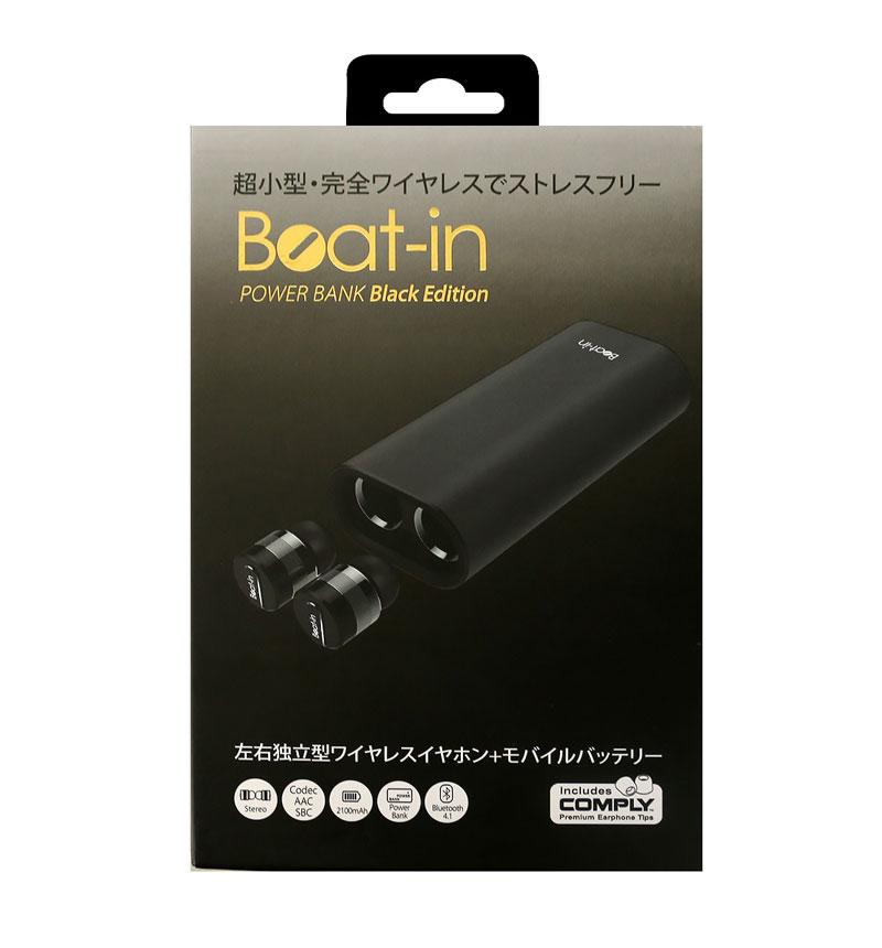 超小型・完全ワイヤレスイヤホン Beat-in  Power Bank Black  Edition ブラック BI9918