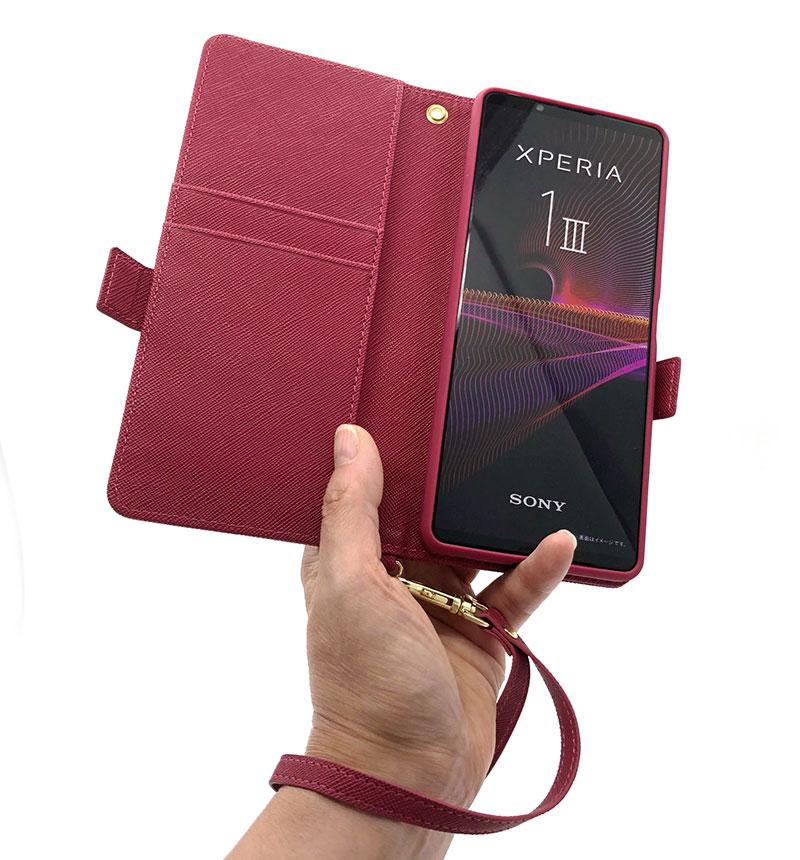Xperia 1 III 手帳型ケース+ハンドストラップ マゼンタ 6142XP13BO