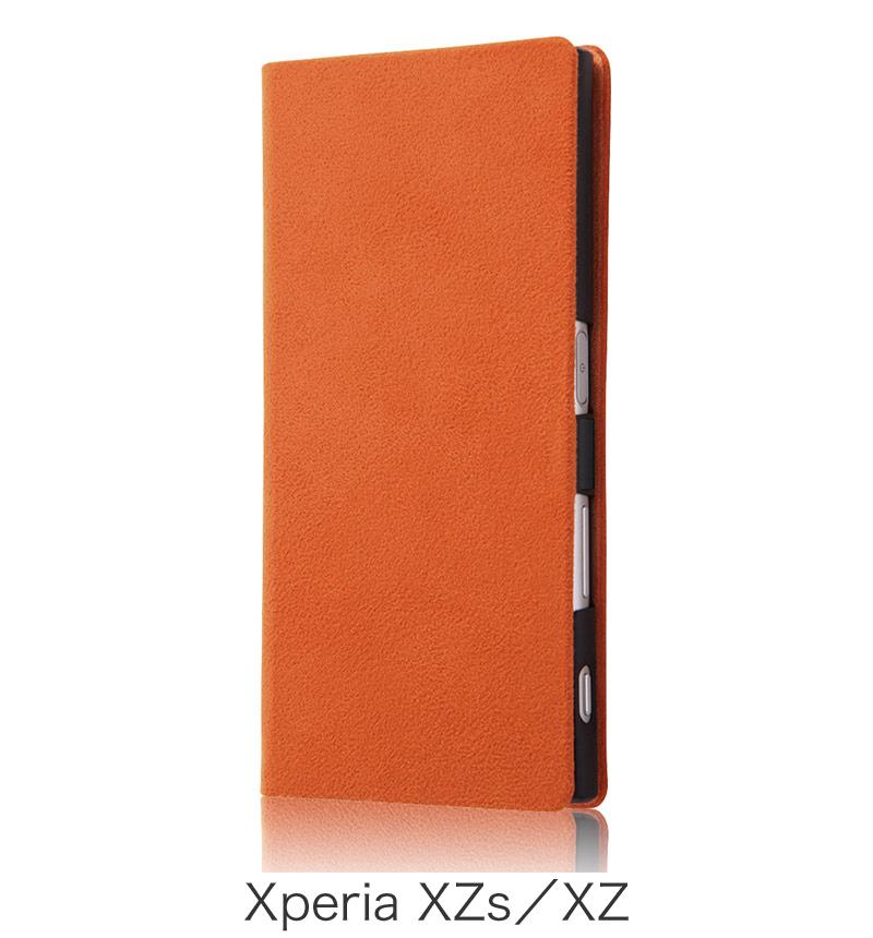 Xperia  XZ用 手帳型ケース ファブリック ラムース使用 オレンジ (Xperia XZs対応) RT-RXPXZFBC3/OR