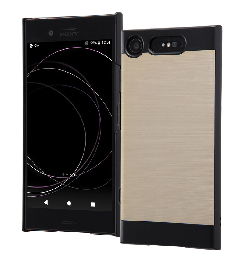 Xperia XZ1 メタリックハードケース ブラック/ゴールド IN-RXZ1MC1/BCG