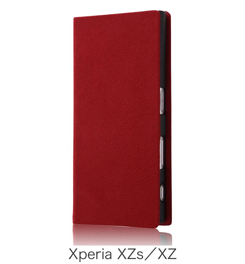 Xperia  XZ用 手帳型ケース ファブリック ラムース使用 レッド (Xperia XZs対応) RT-RXPXZFBC3/R