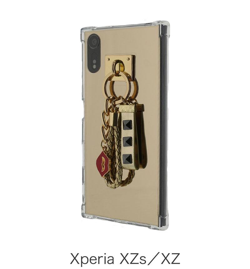Xperia XZs/XZ (Lucy) チャーム付きミラーハイブリットケース ゴールド LP-XPXZSHGMGD
