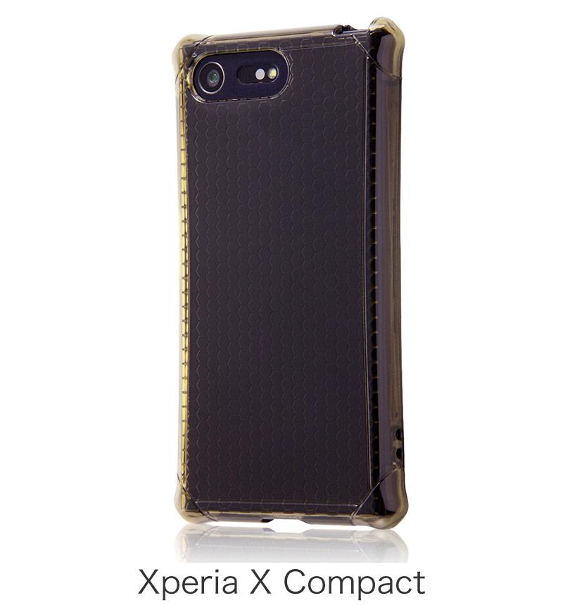 Xperia X Compact用 耐衝撃ケース クラッシュレジスト ライト クリアブラック RT-RXPXCSC1/B