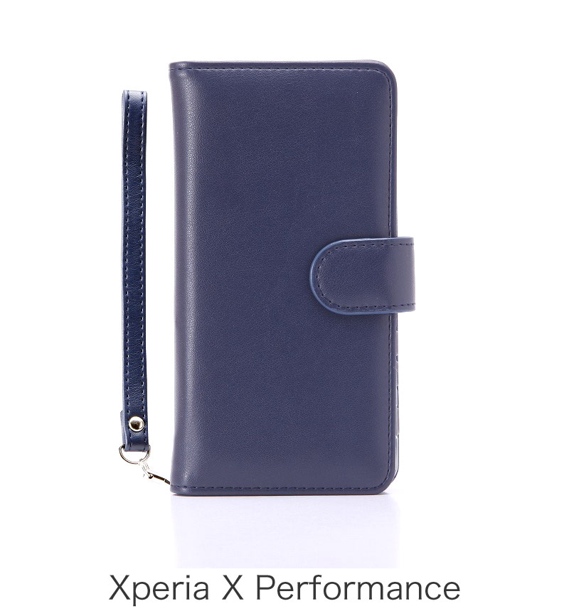 Xperia X Performance ブックタイプPUレザーケース「BOOK」 ネイビー LP-XPXPLBNV