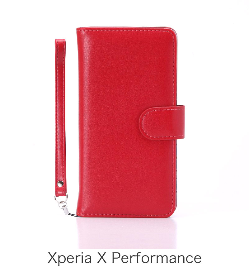 Xperia X Performance ブックタイプPUレザーケース「BOOK」 レッド LP-XPXPLBRD