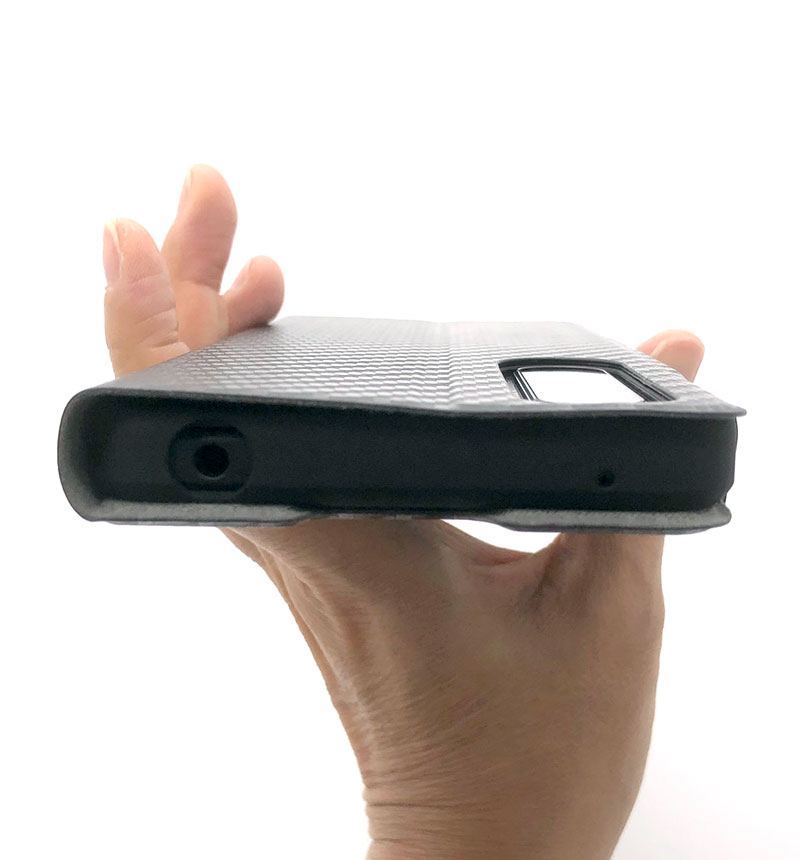 Xperia 1 III ソフトレザーケース UltraSlim 磁石付き 手帳型 カーボン調ブラック PM-X212PLFUCB