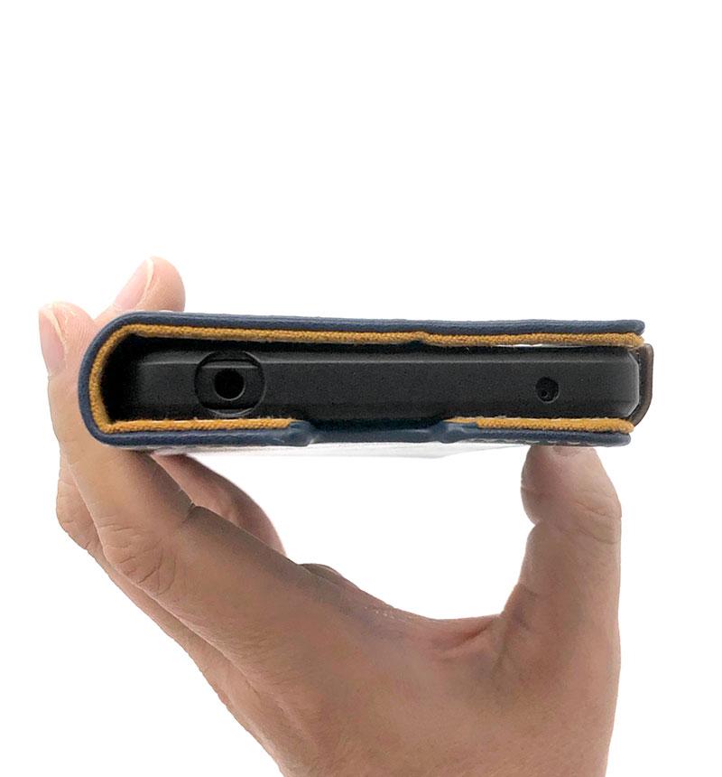 Xperia 1 III ソフトレザーケース ステッチ 磁石付き 手帳型 ネイビー PM-X212PLFYNV
